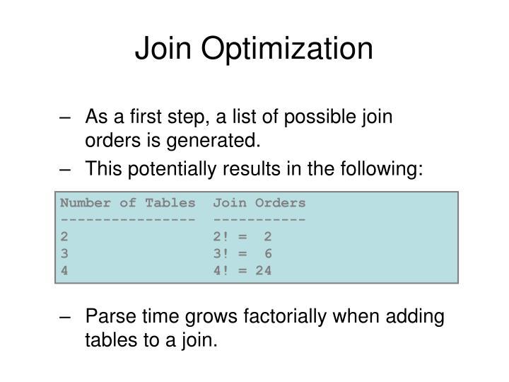Join Optimization