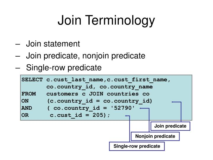 Join Terminology
