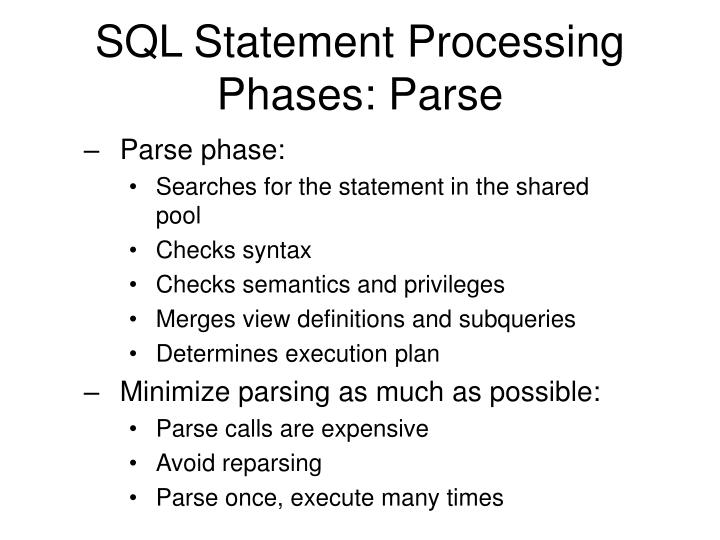 SQL Statement Processing Phases: Parse