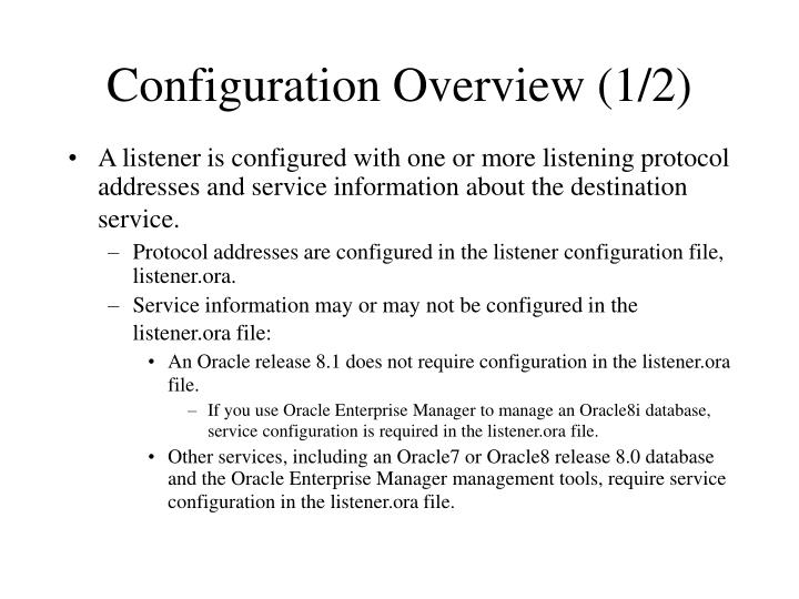 Configuration overview 1 2
