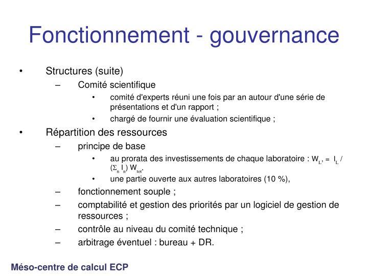 Fonctionnement - gouvernance
