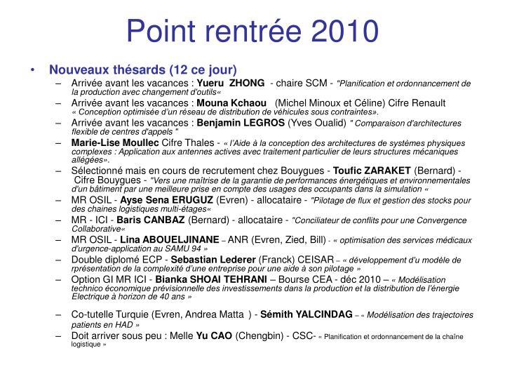 Point rentrée 2010
