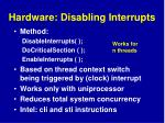 hardware disabling interrupts