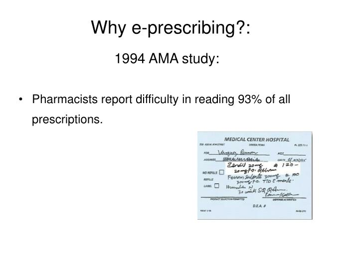 Why e-prescribing?: