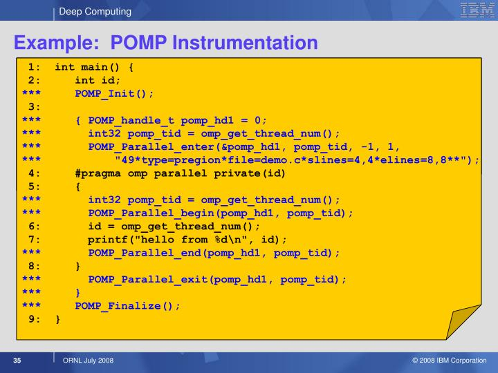 Example:  POMP Instrumentation