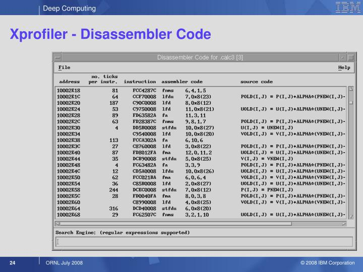 Xprofiler - Disassembler Code