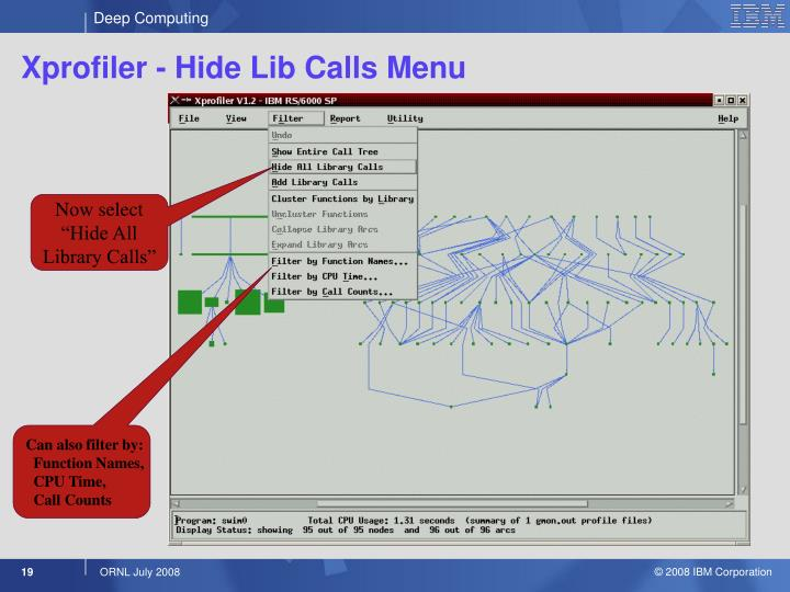 Xprofiler - Hide Lib Calls Menu