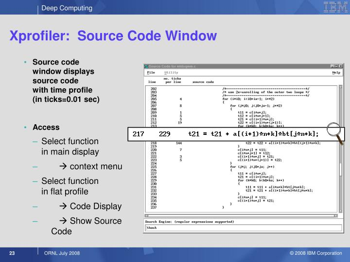Xprofiler:  Source Code Window