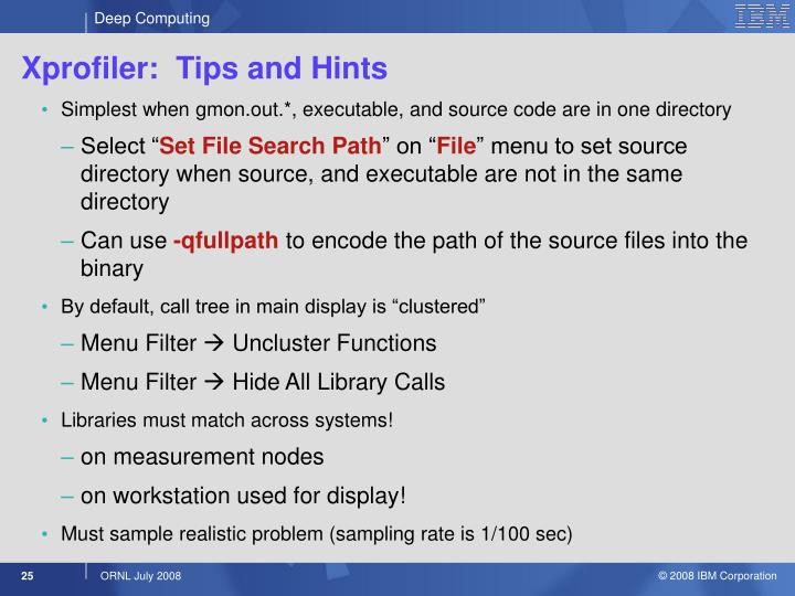 Xprofiler:  Tips and Hints