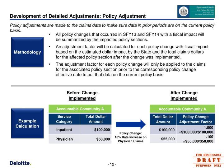 Development of Detailed Adjustments: Policy Adjustment