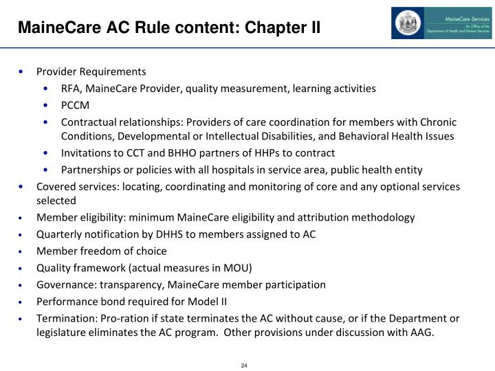 MaineCare AC Rule content: Chapter II