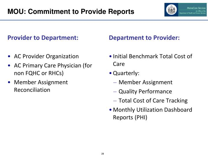 MOU: Commitment to Provide Reports