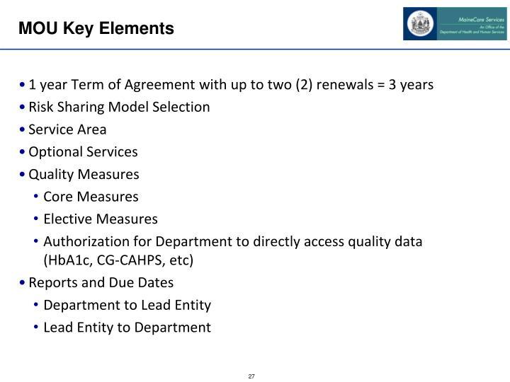 MOU Key Elements