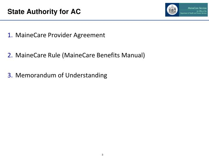 State Authority for AC