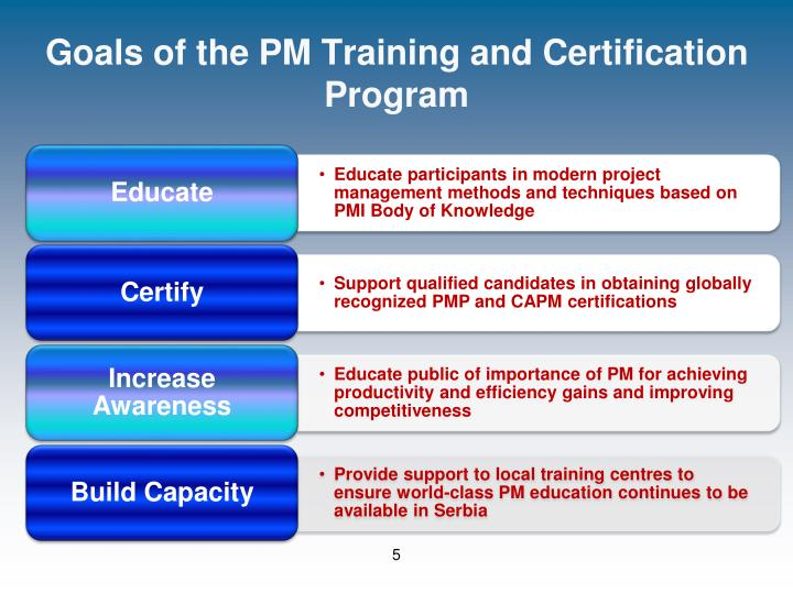 Goals of the PM Training and Certification Program