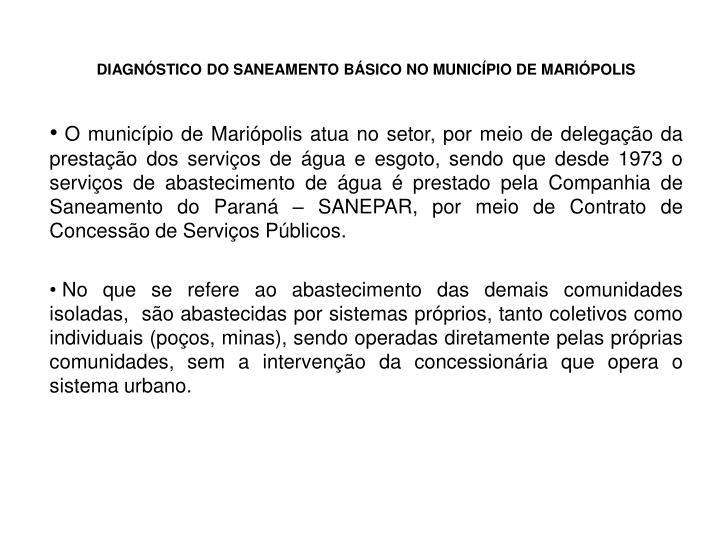 DIAGNÓSTICO DO SANEAMENTO BÁSICO NO MUNICÍPIO DE MARIÓPOLIS
