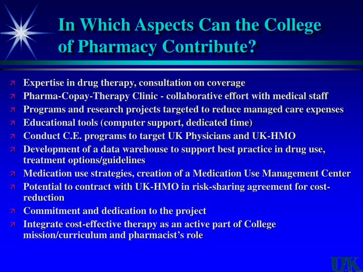 In Which Aspects Can the College of Pharmacy Contribute?