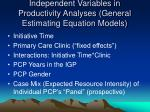 independent variables in productivity analyses general estimating equation models