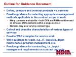 outline for guidance document