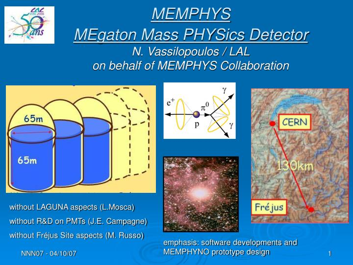 memphys megaton mass physics detector n vassilopoulos lal on behalf of memphys collaboration n.