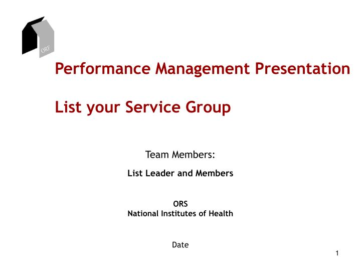 performance management presentation list your service group n.