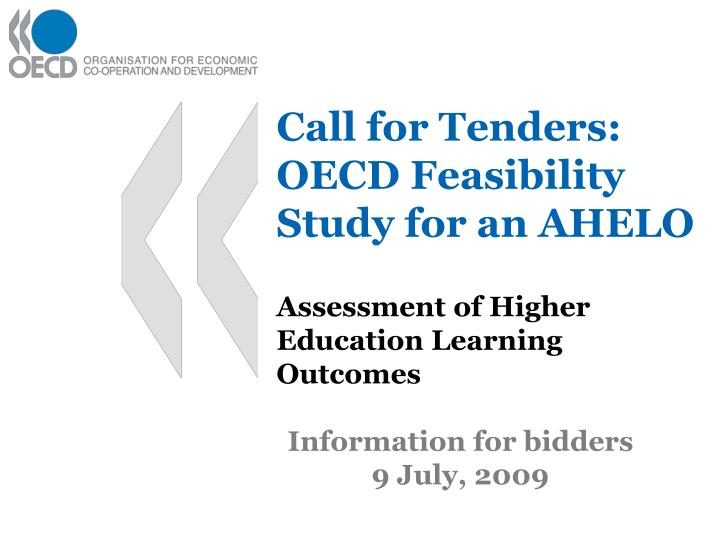 Call for tenders oecd feasibility study for an ahelo