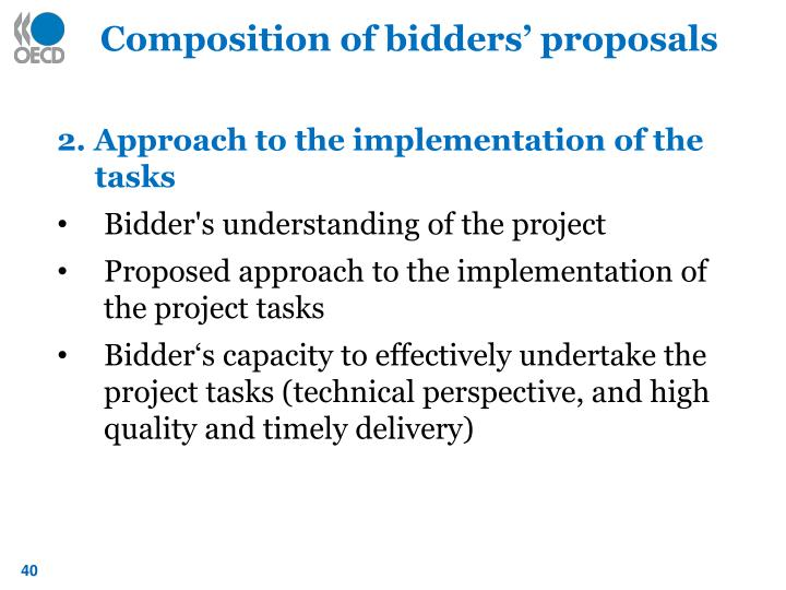 Composition of bidders' proposals