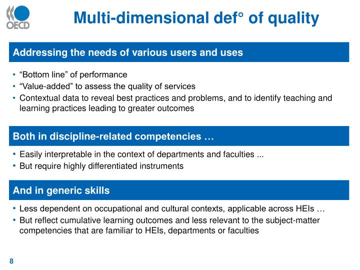 Multi-dimensional def° of quality