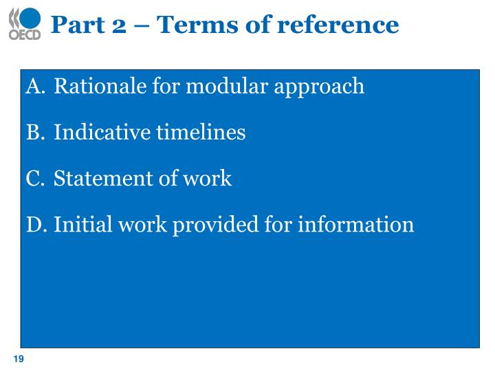 Part 2 – Terms of reference