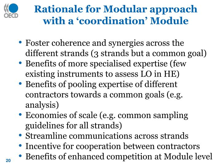 Rationale for Modular approach with a 'coordination' Module
