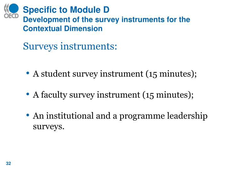 Specific to Module D