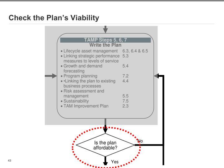 Check the Plan's Viability