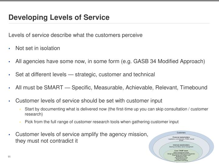 Developing Levels of Service