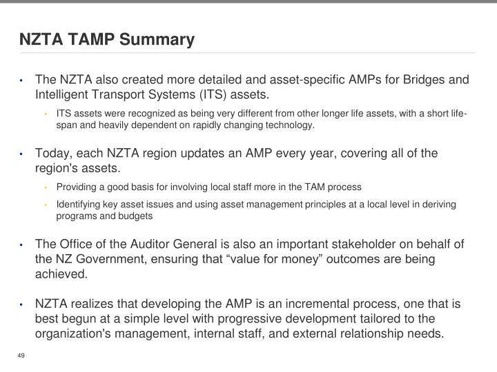 NZTA TAMP Summary