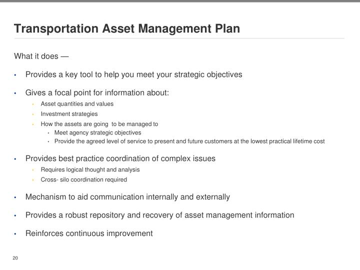 Transportation Asset Management Plan