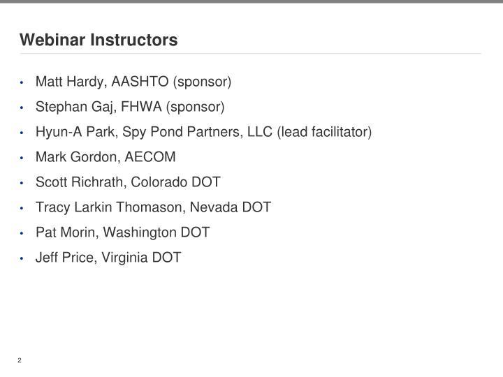 Webinar instructors