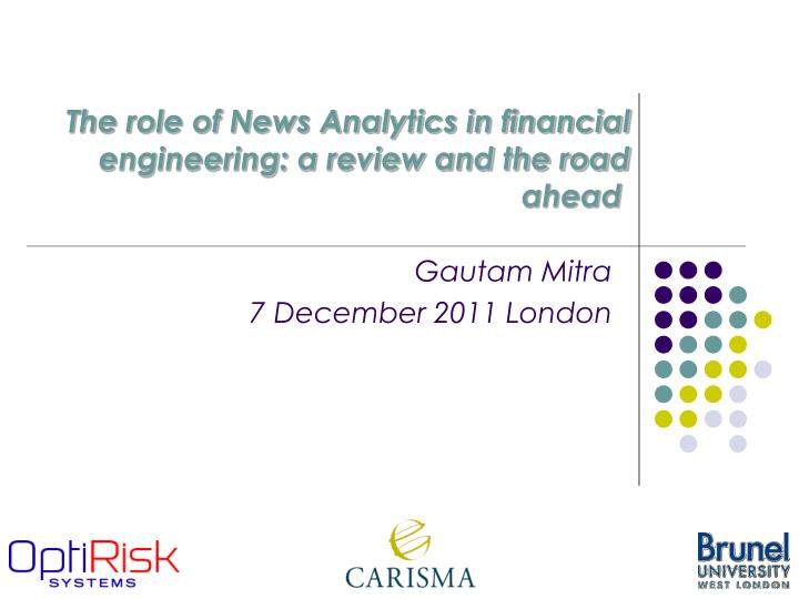 the role of news analytics in financial engineering a review and the road ahead n.