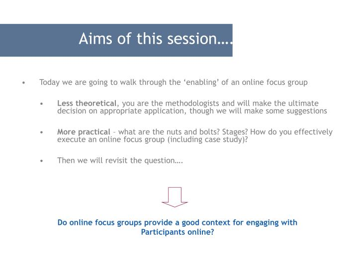 Aims of this session….