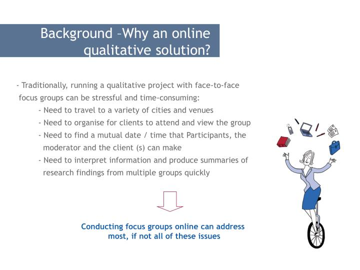 Background –Why an online qualitative solution?