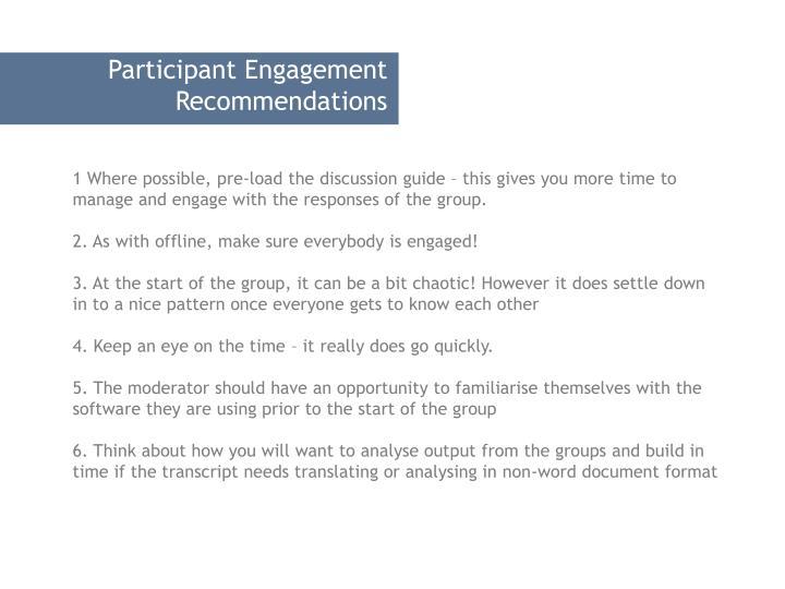 Participant Engagement Recommendations