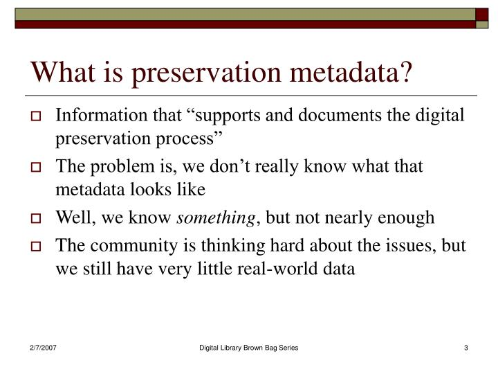 What is preservation metadata