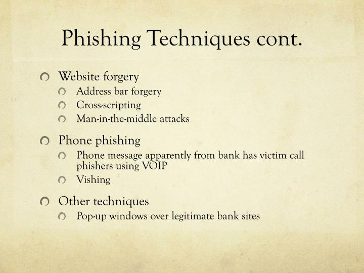 Phishing Techniques cont.
