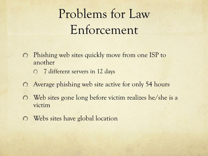 Problems for Law Enforcement