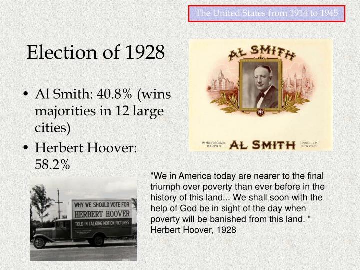 Al Smith: 40.8% (wins majorities in 12 large cities)