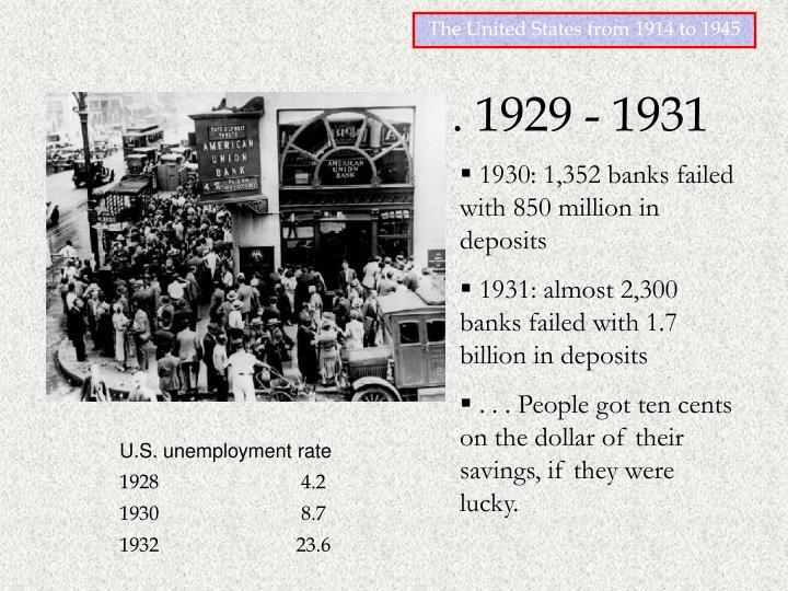 the great crash . . . 1929 - 1931