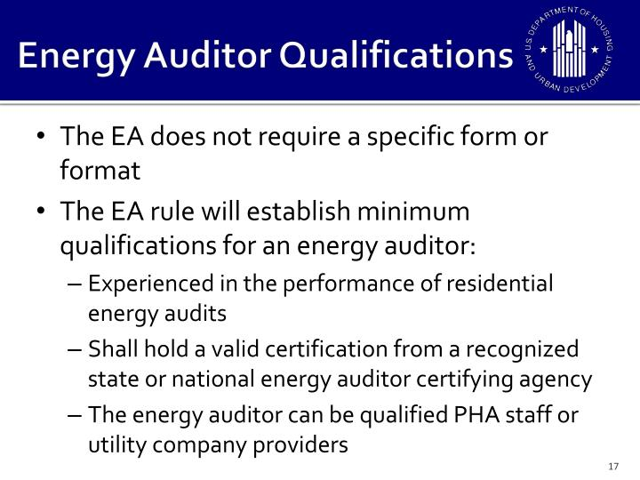 Energy Auditor Qualifications