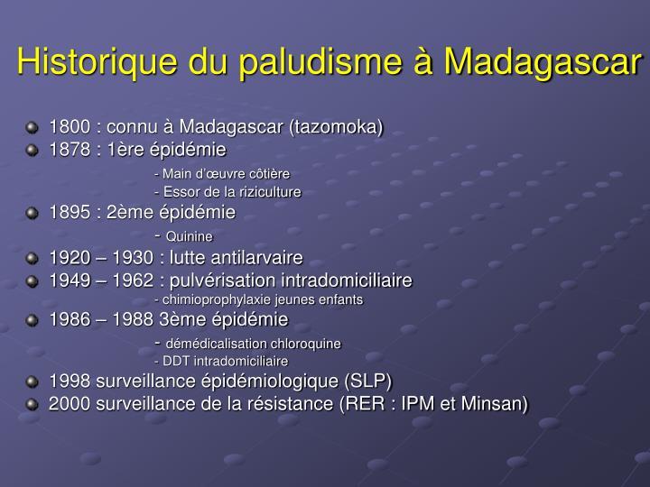 Historique du paludisme à Madagascar