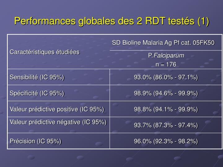 Performances globales des 2 RDT testés (1)