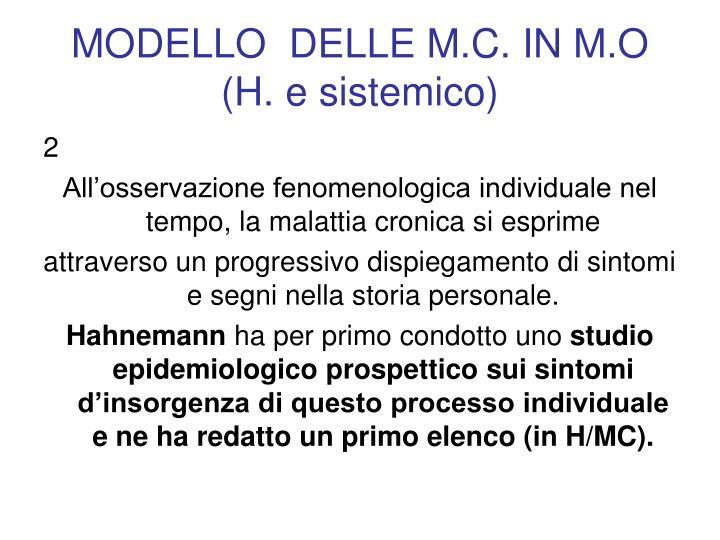 MODELLO  DELLE M.C. IN M.O