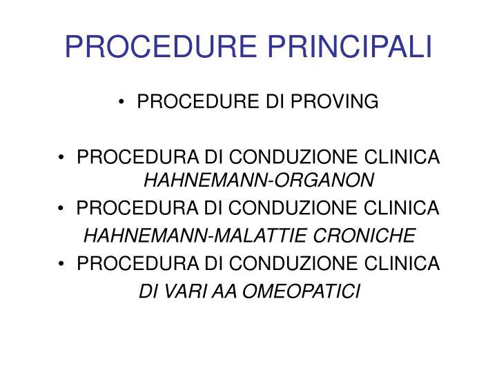PROCEDURE PRINCIPALI